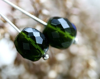 12mm Olivine round beads, Dark Olive Green Fire polished czech glass beads 4Pc - 1945