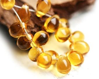 Glass teardrops, czech beads - Amber yellow drops - 5x7mm - 25pc - 0115