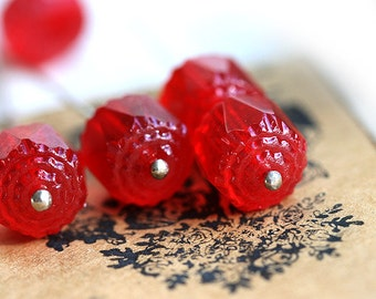 10mm Red cathedral beads, czech glass, round, fire polished, faceted - 10Pc - 1307