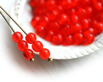 4mm druk Light Red spacers, czech glass beads - round, small - approx.85-90Pc - 0901