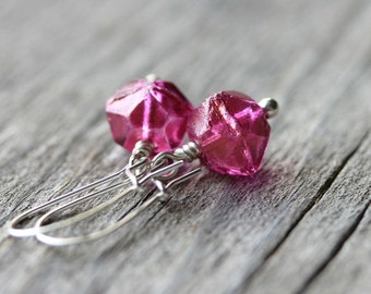 Hot Pink Earrings: Metallic Geometric Glass Beads with Sterling Silver, Simple Minimalist Jewelry
