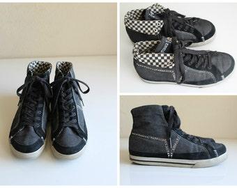 RARE vintage 1980s 1990s VANS hi top sneakers black and white checker rhinestone skate diva street wear hoodrat womens shoes Size 8 SIze 9