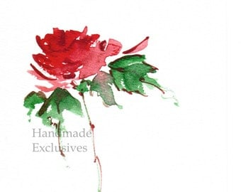 Handpainted Greeting card, Handmade card, Red Rose,  Watercolor Card, Wedding, Valentine's day, Blank, under 10, Handmade Exclusives