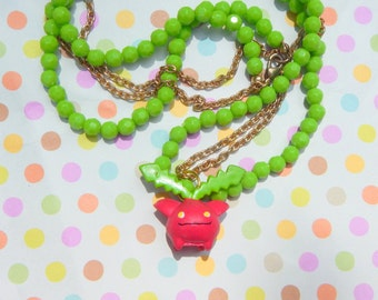 Kawaii Hoppip Pokemon Beaded Necklace - OOAK - Pokemon Jewelry