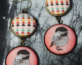 Bird Fabric Button Earrings Spring Bird and Triangle Woodland Chic