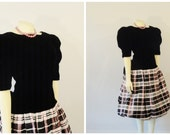Vintage Dress 80s Dress Black Velvet & Shimmering Pink Plaid ACT I New York Deadstock Size 9/10