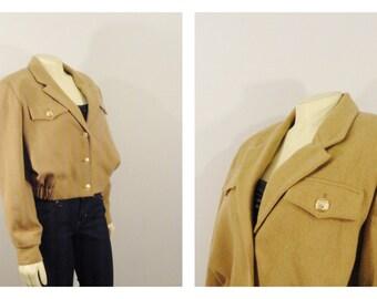 Vintage Coat Aviator Jacket 80s Bill Blass BLASSPORT Bomber Beige And Gold  Breast Pockets Lapel size 8