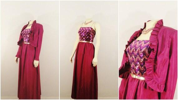 Vintage Dress Miss Elliette Sequin Evening Gown & Jacket Purple Jewel Tones sz 10 modern Medium