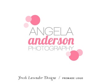 Custom Logo Personalized Premade Logo and Watermark  for Photographers and Small Crafty Boutiques Pink and Grey Whimsical Dots