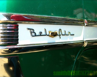 1950's Chevy Bel Air Photography, Vintage Car Photo, Retro Decor, Classic Car Photography, Car Show, Vinyl Wall Decal, By Abby Smith