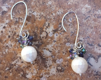 Faceted mother of pearl earrings, Bridal, Wedding