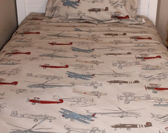 Comforter - Vintage Airplane, Twin, Full, or Queen