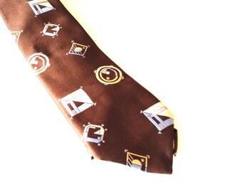 Brown and Blue Men's Necktie - vintage