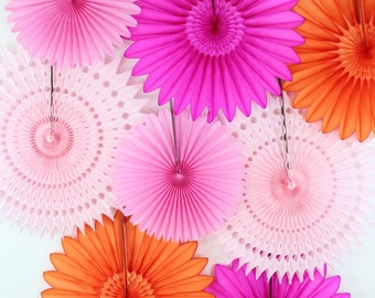 Birthday Party Decorations, birthday parties , bridal showers, girls birthday, baby shower decor, orange and pink - 8 Tissue Paper Fans
