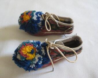 Antique Greek Opanke Tsarouhi Child's Shoes