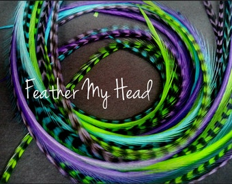 16 Pc DIY Feather Hair Extensions - Premium Grade Whiting - Long 9-12 In (23-28cm) Caribbean Mix Purple Green Turquoise Beads / Instructions