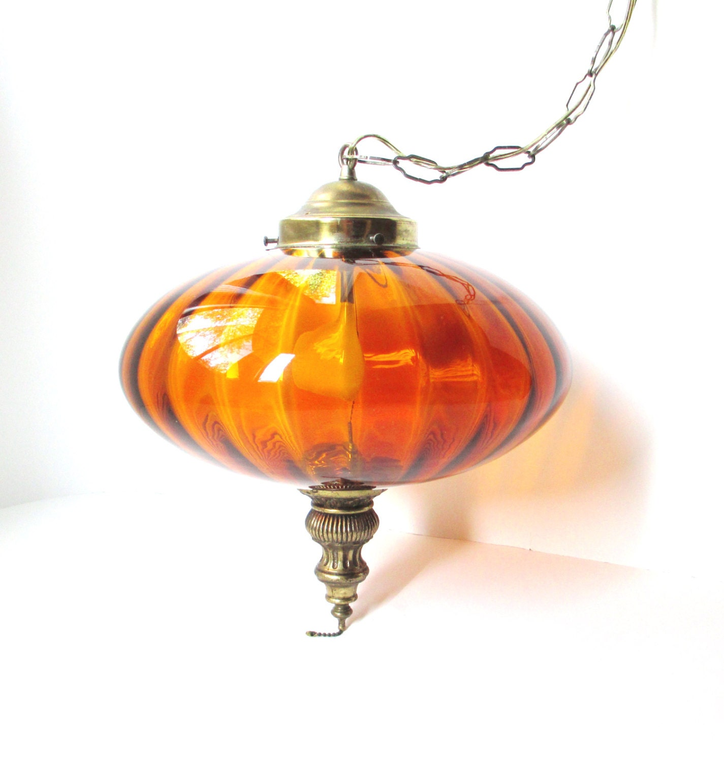 Vintage Hanging Swag Lamp Amber Glass Globe Light