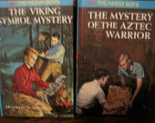 "Vintage Hardy Boys ""The Viking Symbol Mystery"" and ""The Mystery of the Aztec Warrior"" Books, set of Two"