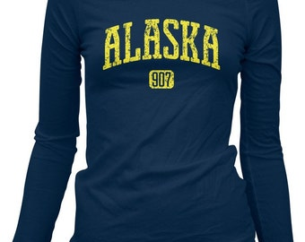 Women's Alaska 907 LS Tee - Long Sleeve Ladies T-shirt - S M L XL 2x - Alaska Shirt - 3 Colors