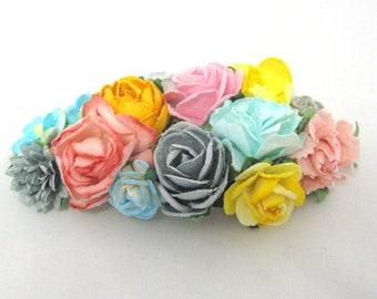 Colorful flowers for barette or comb. Floral Bridal hair accessories, wedding headpiece, woodland flower, bridal hair flower