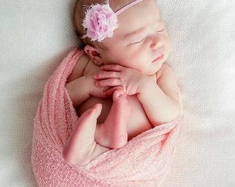 Petite Shabby Chic Rosette Headband.. Baby Pink Headband...Baby Bows...Flower Headband...Baby Girl Headband...Shabby Rosette...Newborn