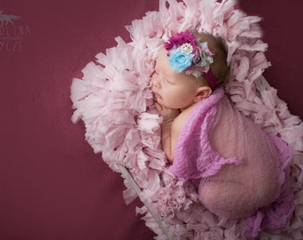 Cheesecloth Wrap and Headband Set...Baby Wrap...Baby Girl Headband...Baby Bows...Photography Props...Newborn Props