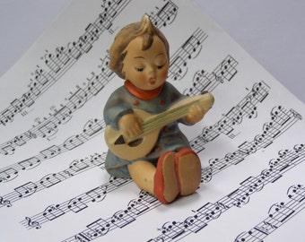 Vintage Joyful Goebel Hummel Figurine No. 53 Girl Singing and Playing Mandolin