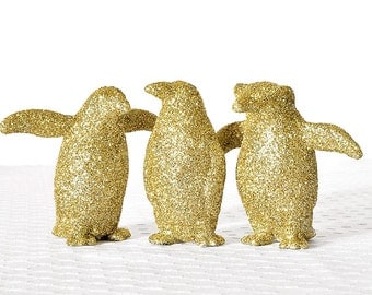Gold Glitter Penguins Metallic Decoration for Parties, Weddings Tablescapes or Nursery Decor,Birthday Party Home Decor.Cake Toppers.Set of 3