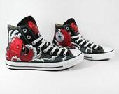 RED KOI, full painting, Annatar original design, tattoo style, custom shoes