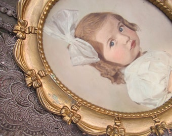 Syroco Frame with Tinted Portrait Little Girl with Bow vintage Photo Portrait Vintage Frame