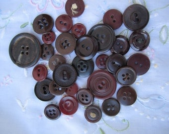 Lot of Brown Burgundy Vintage Buttons 32