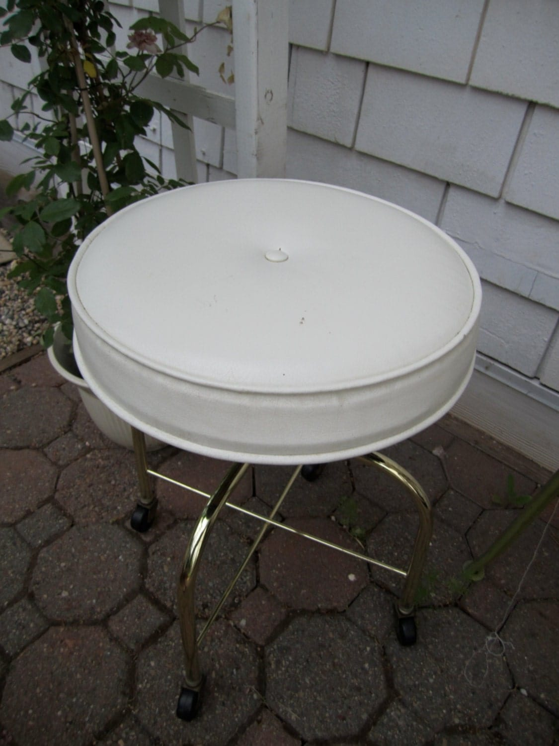 Vintage Vanity Stool White Vinyl Rolling Stool With Gold Tone