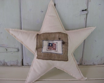 Star Stuffed Natural Bull Denim Large Burlap Flag Patch Navy Button Home Decor Americana Accent Pillow