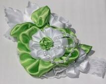 Kanzashi lime green and white headband - flower bow pearls fascinator posh peanut mesh shabby chic photo prop portrait