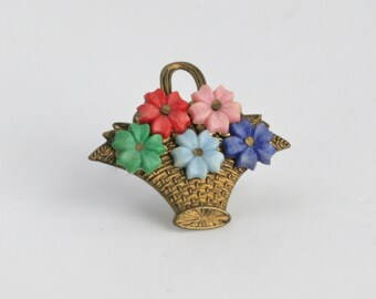 Amazing FLOWER BASKET Brooch Pin // Vintage Jewelry // 1940's