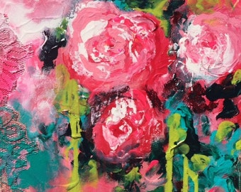 Floral Abstract Painting - Original Contemporary Acrylic on Gallery Wrapped Canvas Ready to Hang - Affordable gift for Valentines Day