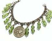 Zodiac Leo Bracelet, Zodiac Birthstone Leo, Zodiac Bracelet, Charm Bracelet, Leo Birthstone Jewelry, Zodiac Jewelry, Peridot Leo Charms
