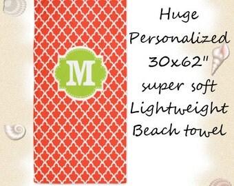 Coral Lime Green Quatrefoil Monogram Beach Towel - YOU CHOOSE COLORS