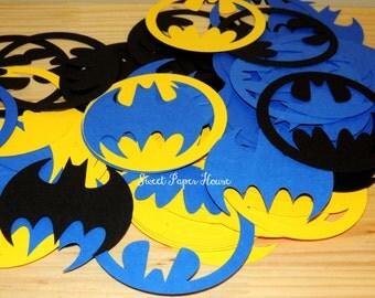 200 Batman Die Cuts - 3 Inch - Black, Yellow, Blue (Cardstock, Super Hero, Superhero, Batman Baby Shower, Batman and Robin, Batman Wedding)