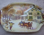 Currier & Ives Tin Snack Tray   Small Tin Snack Tray
