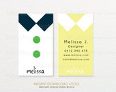 BUSINESS CARD |  Collar and Buttons Premade Design :  Photography or Boutique DIY Instant Download