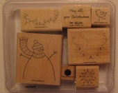 Simple Snowman  Stampin' Up set of 7 wood mounted rubber stamps