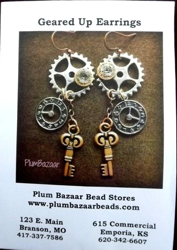 Jewelry Making Kit Steampunk Style Earrings Instructions