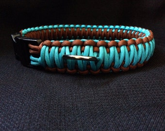 NEW!!!  Neon Turquoise with Brown Paracord Dog Collar (custom size)