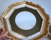 Pair of Vintage Octagon Gold Gilded Wood Picture Frames with Green Velvet Matte - Floyd Jones Vintage