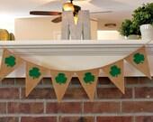 St Patricks Day Burlap Banner, Shamrock, Clover, Irish, Photography Prop