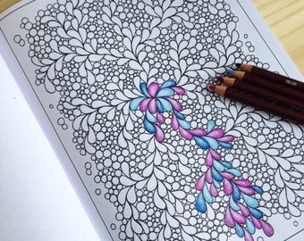 Zentangle Inspired Pretty Pattern Coloring Page PDF, Page 55