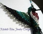 Anna's Hummingbird ~ beaded bird necklace ~ 3D bird ~ beaded hummingbird