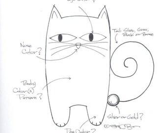 Custom Tail Cat Pendant Custom Tail Cat Necklace Handmade Ceramic by Sean Brown