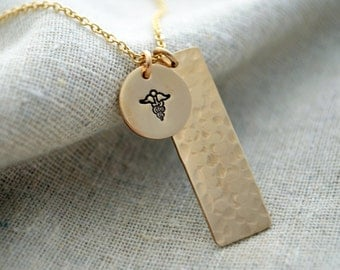 Vertical Two Charm Medical Alert Necklace - Hidden Text - Personalize